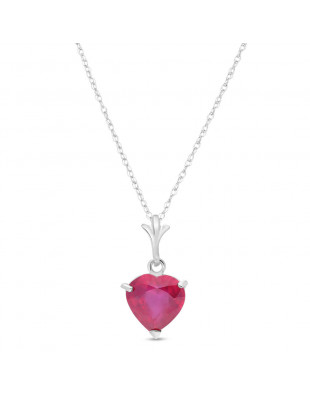 Ruby Heart Pendant Necklace 1.45 ct in 9ct White Gold