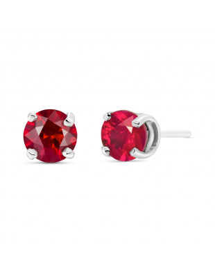 Ruby Stud Earrings 0.95 ctw in 9ct White Gold