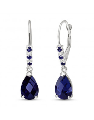 Sapphire & Diamond Belle Drop Earrings in 9ct White Gold