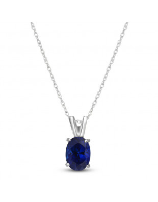 Sapphire Oval Pendant Necklace 1 ct in 9ct White Gold