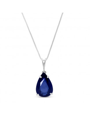 Sapphire Pear Drop Pendant Necklace 4.65 ct in 9ct White Gold