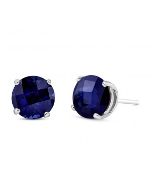 Sapphire Stud Earrings 3.3 ctw in 9ct White Gold