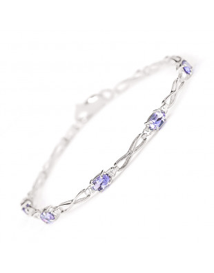 Tanzanite & Diamond Evert Tennis Bracelet in 9ct White Gold
