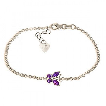 Amethyst Adjustable Butterfly Bracelet 0.6 ctw in 9ct White Gold