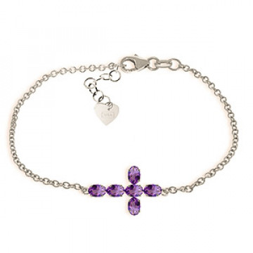 Amethyst Adjustable Cross Bracelet 1.7 ctw in 9ct White Gold