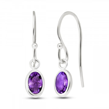 Amethyst Allure Drop Earrings 1 ctw in 9ct White Gold
