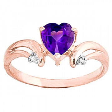 Amethyst & Diamond Affection Heart Ring in 9ct Rose Gold