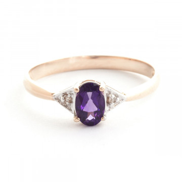 Amethyst & Diamond Allure Ring in 9ct Rose Gold