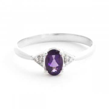 Amethyst & Diamond Allure Ring in 9ct White Gold