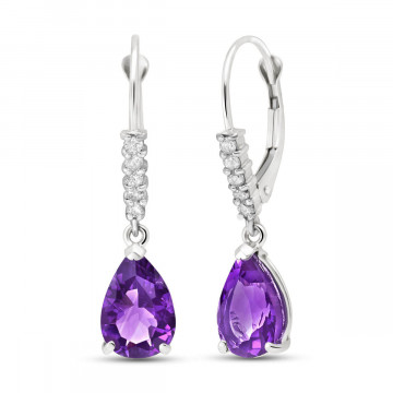 Amethyst & Diamond Belle Drop Earrings in 9ct White Gold