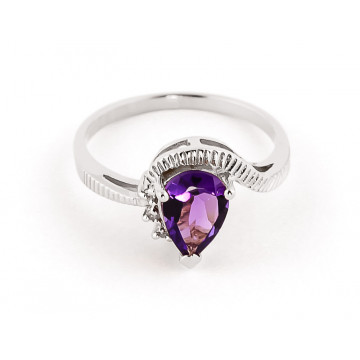 Amethyst & Diamond Belle Ring in 9ct White Gold