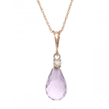 Amethyst & Diamond Beret Pendant Necklace in 9ct Rose Gold
