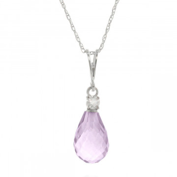 Amethyst & Diamond Beret Pendant Necklace in 9ct White Gold