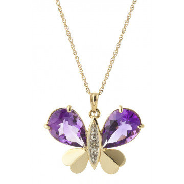 Amethyst & Diamond Butterfly Pendant Necklace in 9ct Gold