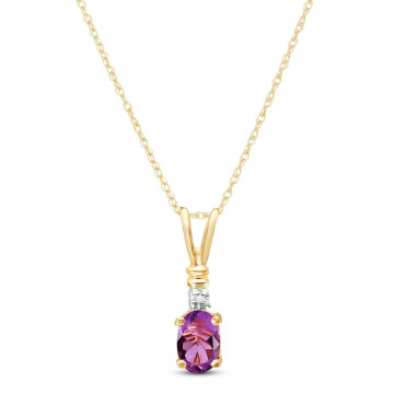 Amethyst & Diamond Cap Oval Pendant Necklace in 9ct Gold