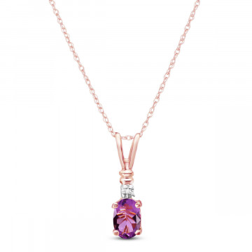 Amethyst & Diamond Cap Oval Pendant Necklace in 9ct Rose Gold