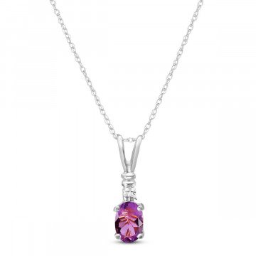 Amethyst & Diamond Cap Oval Pendant Necklace in 9ct White Gold