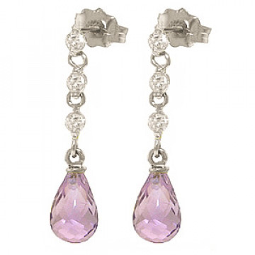 Amethyst & Diamond Chain Droplet Earrings in 9ct White Gold