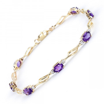 Amethyst & Diamond Classic Tennis Bracelet in 9ct Gold