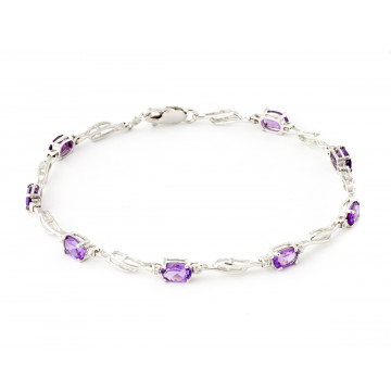 Amethyst & Diamond Classic Tennis Bracelet in 9ct White Gold