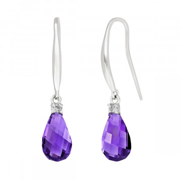 Amethyst & Diamond Drop Earrings in 9ct White Gold