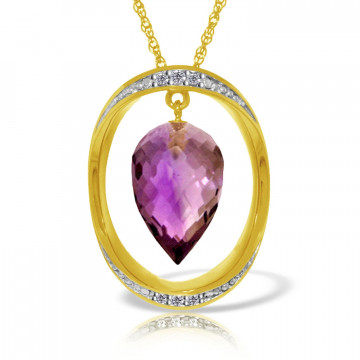 Amethyst & Diamond Drop Pendant Necklace in 9ct Gold