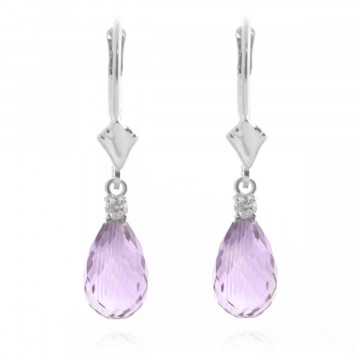Amethyst & Diamond Droplet Earrings in 9ct White Gold