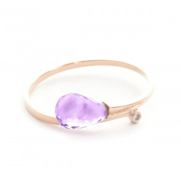Amethyst & Diamond Droplet Ring in 9ct Rose Gold