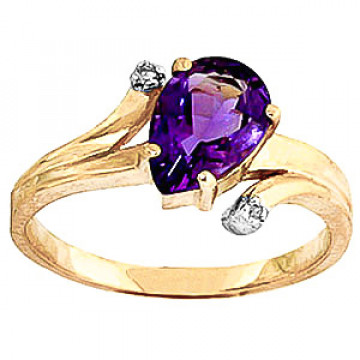 Amethyst & Diamond Flank Ring in 9ct Gold