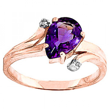 Amethyst & Diamond Flank Ring in 9ct Rose Gold