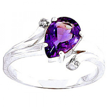 Amethyst & Diamond Flank Ring in 9ct White Gold