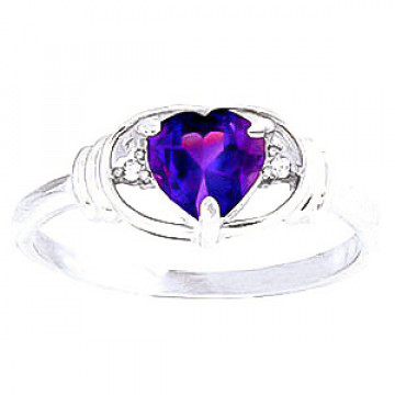 Amethyst & Diamond Halo Heart Ring in 9ct White Gold