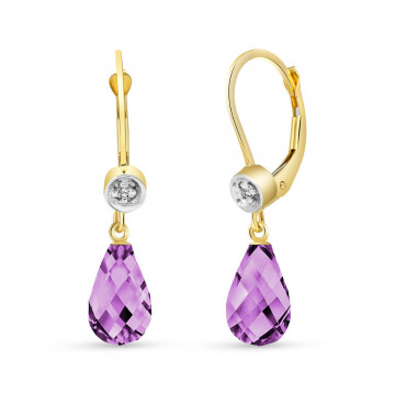 Amethyst & Diamond Illusion Drop Earrings in 9ct Gold