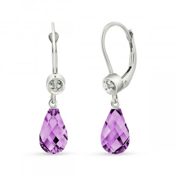 Amethyst & Diamond Illusion Drop Earrings in 9ct White Gold