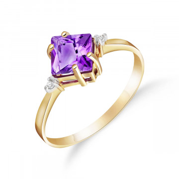 Amethyst & Diamond Princess Ring in 9ct Gold