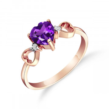Amethyst & Diamond Trinity Ring in 9ct Rose Gold