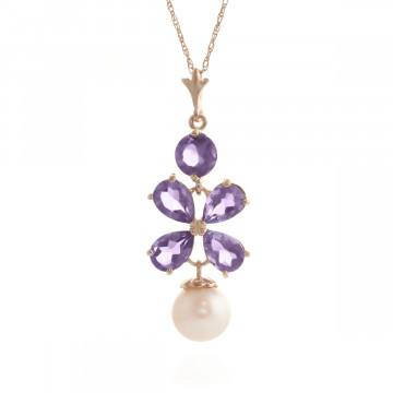 Amethyst & Pearl Blossom Pendant Necklace in 9ct Rose Gold