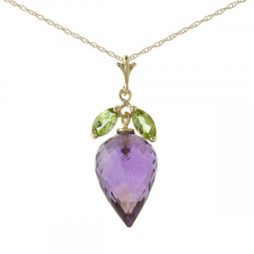 Amethyst & Peridot Drop Pendant Necklace in 9ct Gold