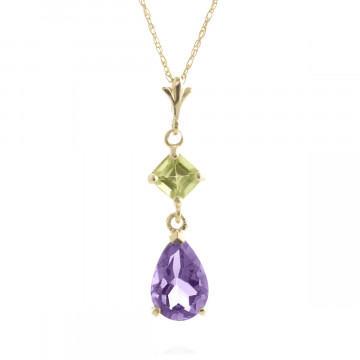 Amethyst & Peridot Droplet Pendant Necklace in 9ct Gold