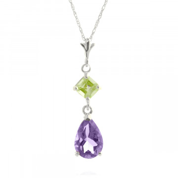 Amethyst & Peridot Droplet Pendant Necklace in 9ct White Gold