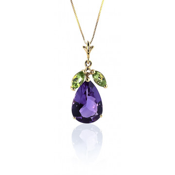 Amethyst & Peridot Pear Drop Pendant Necklace in 9ct Gold