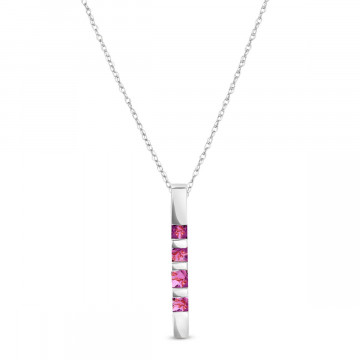Amethyst Bar Pendant Necklace 0.35 ctw in 9ct White Gold