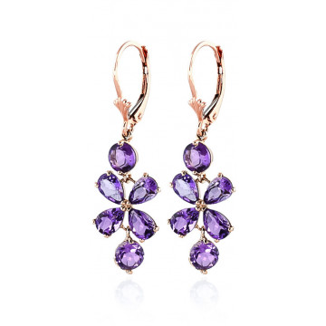 Amethyst Blossom Drop Earrings 5.32 ctw in 9ct Rose Gold