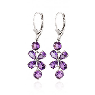 Amethyst Blossom Drop Earrings 5.32 ctw in 9ct White Gold