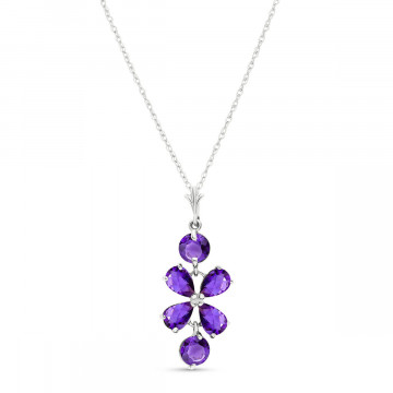 Amethyst Blossom Pendant Necklace 3.15 ctw in 9ct White Gold