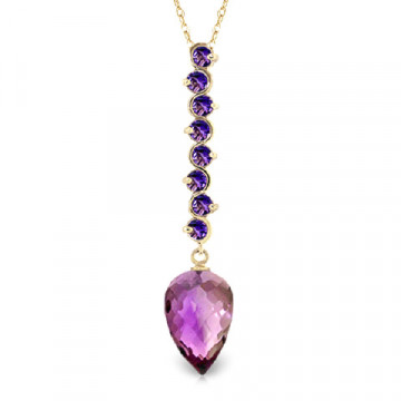 Amethyst Briolette Pendant Necklace 11.05 ctw in 9ct Gold