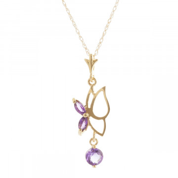 Amethyst Butterfly Pendant Necklace 0.18 ctw in 9ct Gold