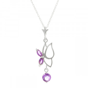 Amethyst Butterfly Pendant Necklace 0.18 ctw in 9ct White Gold