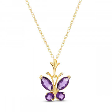 Amethyst Butterfly Pendant Necklace 0.6 ctw in 9ct Gold