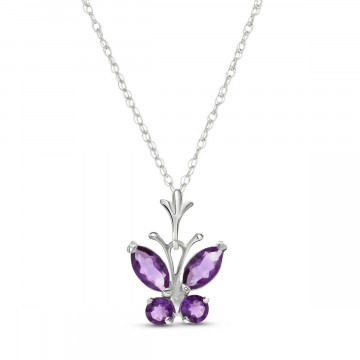 Amethyst Butterfly Pendant Necklace 0.6 ctw in 9ct White Gold